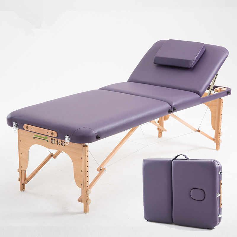70 cm Genişliğinde 3 Kat taşınabilir masaj masası Ahşap Çerçeve Ayarlanabilir Spa Yatak Dövme güzellik salonu mobilyası Katlanır Masaj Yatağı