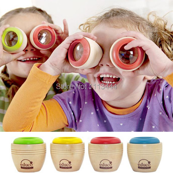 2X Bee eye effect Magic Children Kids Mini Wooden Kaleidoscope Toys safe Classic Toys fantasias infantis caleidoscopio
