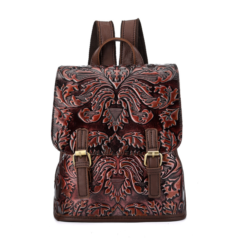 100% Genuine Leather Flower Women Backpacks New Fashion Luxury Brand Female Real Natural Leather Ladies Girl Vintage Backpack100% Genuine Leather Flower Women Backpacks New Fashion Luxury Brand Female Real Natural Leather Ladies Girl Vintage Backpack