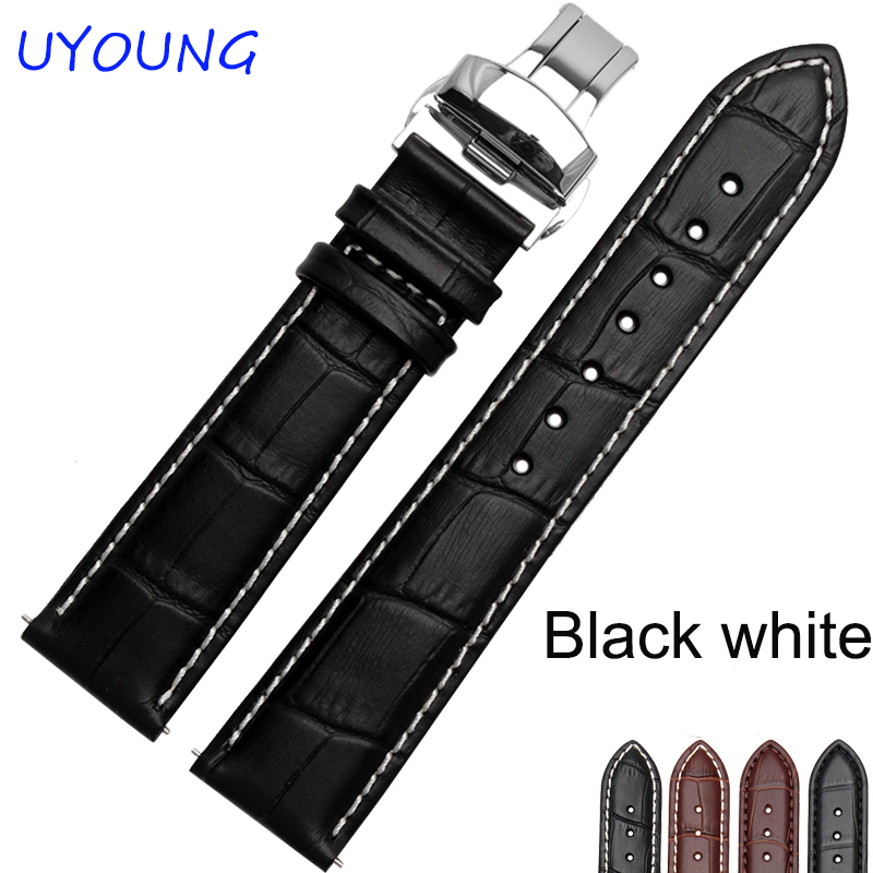 12/14/16/17/18/19/20/21/22/23/24mm Hot Sale Genuine Leather Watchband Black Brown Watch accessories For Tissot replacement strap the wallflower 22 23 24