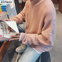 Solid Color Men Sweater Knitted O-Neck Autumn Winter Pullover Sweater Male Korean Fashion Pink Sweater Clothing 2019