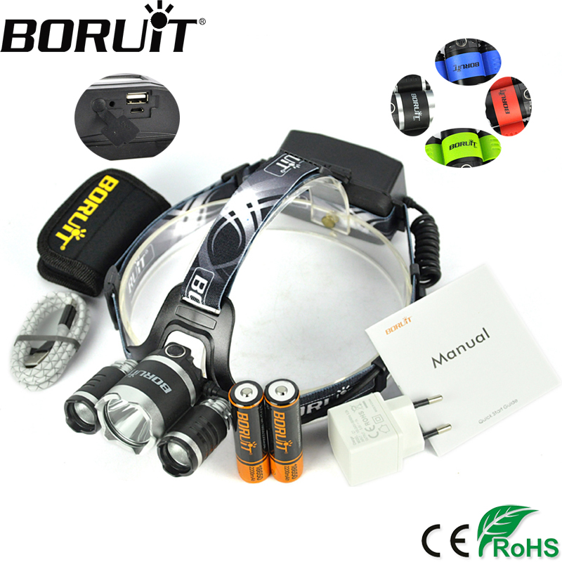 BORUiT B21 2400LM XPE XM-L2 LED Headlamp 4-Mode Headlight Hunting Frontal Lantern Camping Head Torch Power Bank Flashlight 3800 lumens cree xm l t6 5 modes led tactical flashlight torch waterproof lamp torch hunting flash light lantern for camping z93