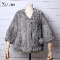 FXFURS 2019 Knitted Women Rabbit Fur Coat Jacket Trench Outwear Parka Russia Winter Warm Coats Rabbit Fur Ball Pockets Pullover