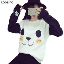 New College Wind Women Hoodies Fashion Cartoon Panda Sweatshirts Casual Printed Mixed Color Harajuku Tracksuits Female Sudaderas