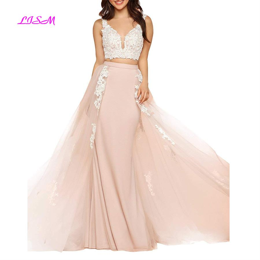 V-Neck Appliques Two Pieces Tulle   Prom     Dress   Long Backless Sweep Train Ecening   Dresses   2019 New Arrival Formal Gowns gala jurken