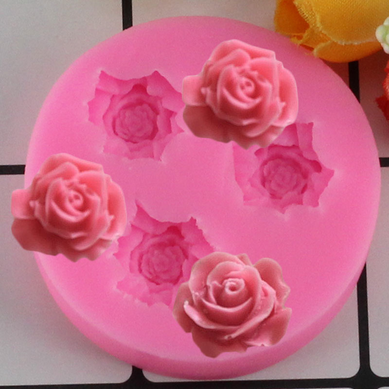 Mujiang Rose Flower Silicone Mold 3D Craft Cupcake Fondant Cake Decorating Tools Candy Fimo Clay Chocolate Gumpaste Moulds