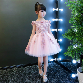 High quality children's dress pink flower girl wedding dress princess dress girls show piano costume