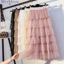 Женская юбка из тюля корейской моды Высокая Талия Элегантное летнее, длинное, макси юбка Женский Белый Розовый кепки с сеточкой на весну; Многослойная юбка для девочек