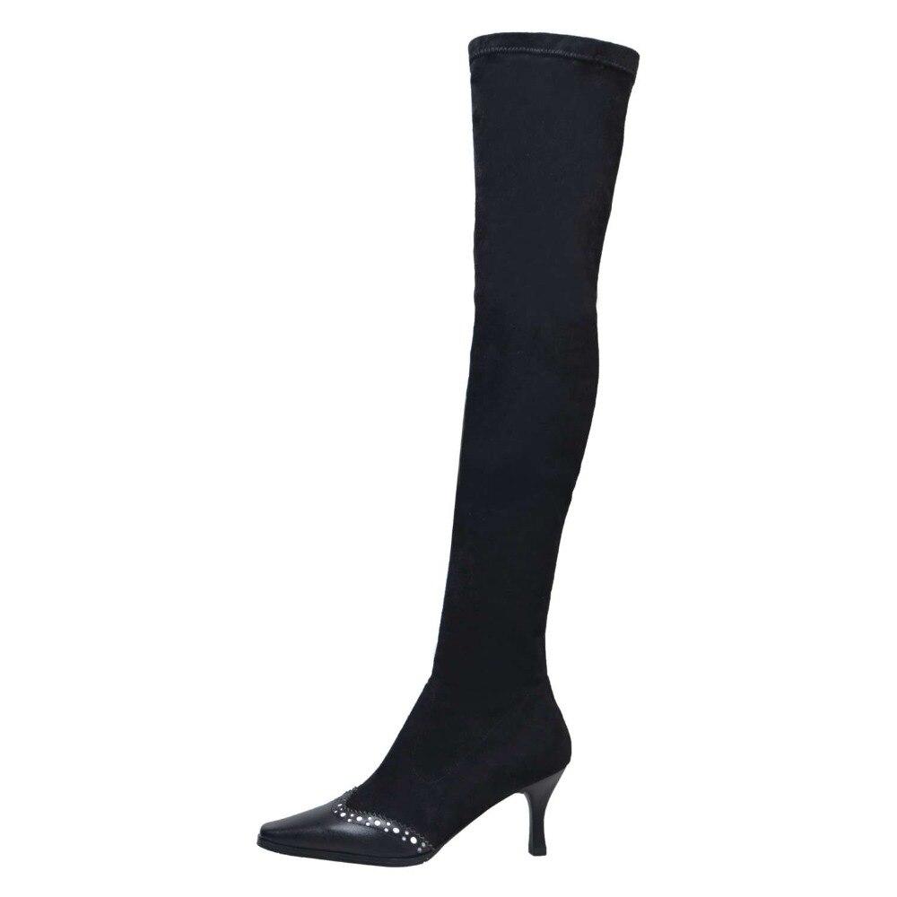Heels Concise Stretch Boots Flock Slip High Boots 2019 Büro Größe Leder Stiefel Chelsea Dame Auf Thigh Plus calf Klassischen Zehe Quadratischen Dünne Kuh L7f3 mid 7qUSxwCqz