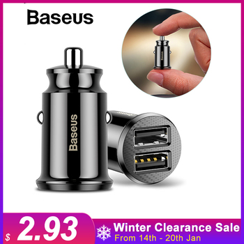 Baseus car charger Mini Dual usb car charger car-styling USB Charger for phone 2 Port USB Fast Car-Charger for iPhone 7 Samsung