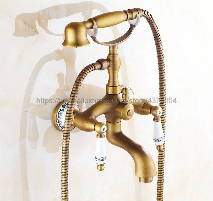 Bathtub Faucets Wall Mounted Antique Brass Bathtub Faucet With Hand Shower Bathroom Bath Shower Faucets Ntf311 bathtub faucets antique brass bath rain shower faucet head and handheld shower faucet 2 handel bathroom wall mounted tap lj10119