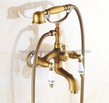 Bathtub Faucets Wall Mounted Antique Brass Bathtub Faucet With Hand Shower Bathroom Bath Shower Faucets Ntf311 ledeme bathtub faucet bathroom chrome plated outlet pipe bath shower faucets head surface inside brass bathtub faucets l2225
