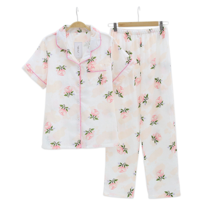 Fresh flowers women   pajamas     sets   100% gauze cotton casual short sleeve 2 piece pyjamas mujer women homewear sleepwear