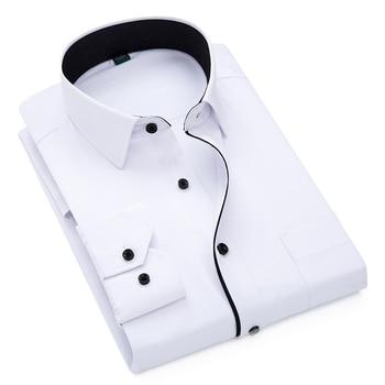 2019 Brand New Men Shirt Male Dress Shirts Striped Men's Casual Long Sleeve Business Formal Plaid Shirt camisa social 1