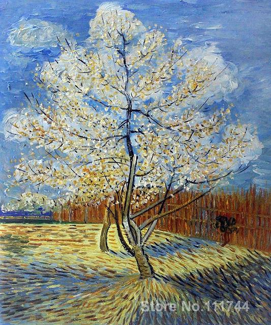 pink peach tree vincent van gogh famous paintings oil canvas