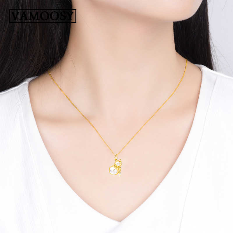 Fine 100% 24K Gold Necklaces for Women 2018 Statement Pearl Necklace Gourd Pendant Collar Bohemian Chocker Female Jewelry