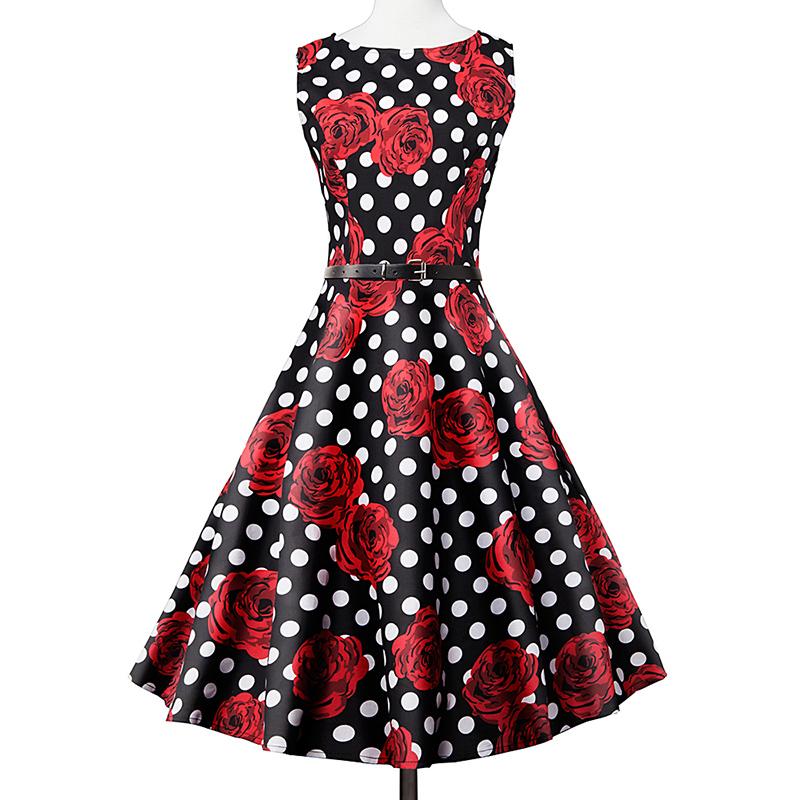 Kostlish Elegant Print Women Summer Dress Sleeveless Cotton Hepburn 50s 60s Vintage Dress With Belt Casual A-Line Ladies Dresses (40)