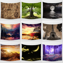 Hot sale fashion green Big tree flowers sunset forest pattern wall hanging tapestry home decoration wall tapestry tapiz pared sunset forest horse pattern wall art tapestry