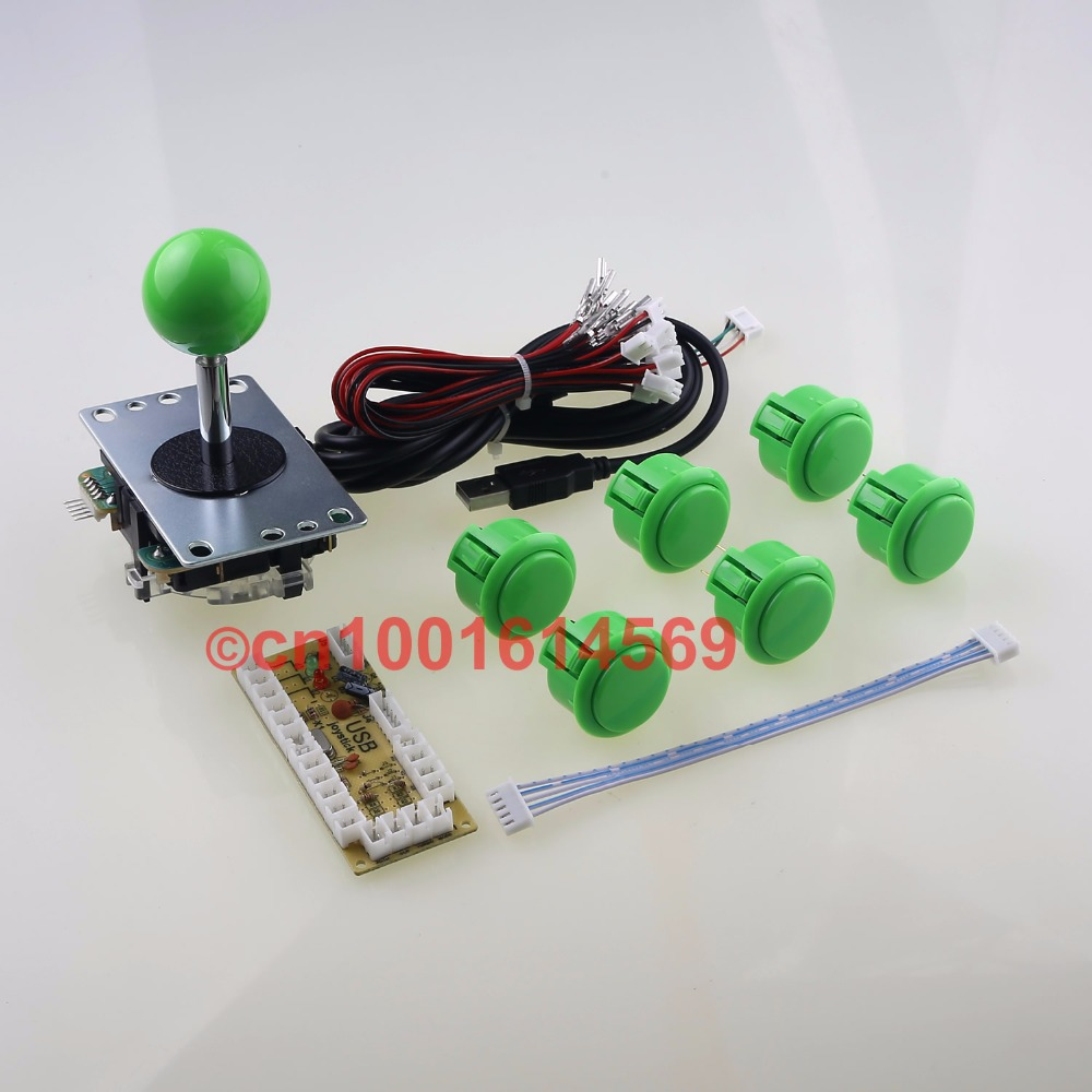 цена на Arcade Control Panel Sanwa Push Buttons + Sanwa Arcade Joystick + USB PC Encoder To Raspberry PI 1 2 3 3B Retropie Project Green