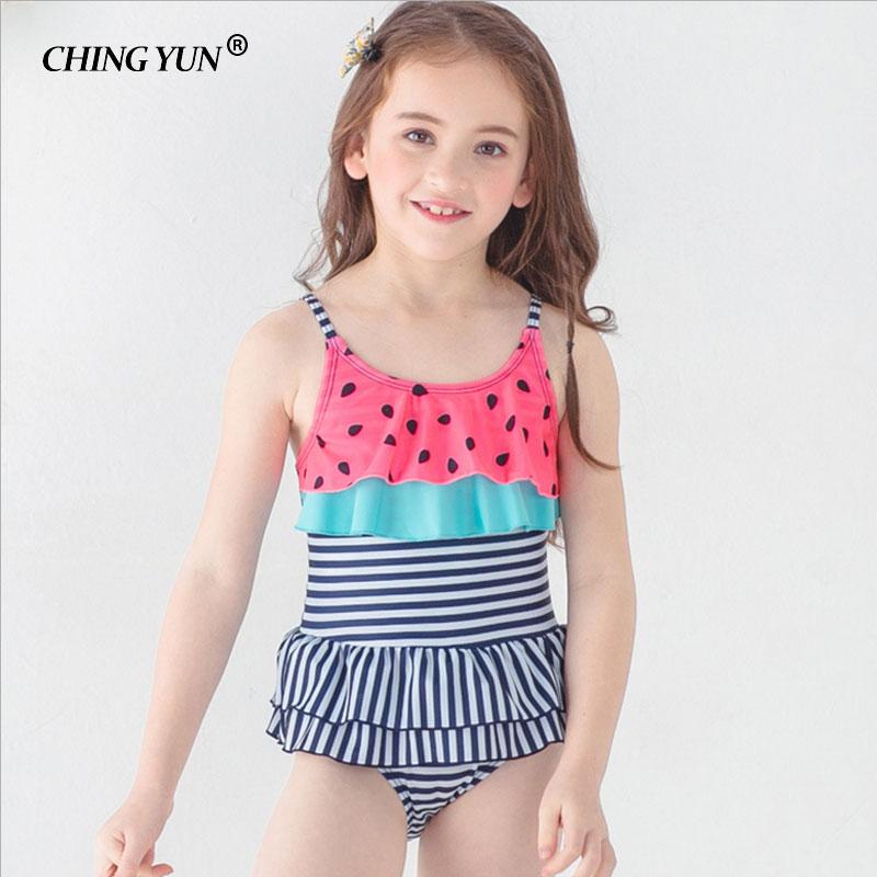 a502dcf6300ce New Children swimwear cute girls Ruffled One piece dress style Watermelon  color swimsuit Stripes Princess Bathing Suit beachwear-in Children's  One-Piece ...