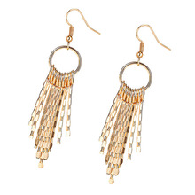 Ladies Fashion Temperament Metal Earrings Vintage Dropear Women Simple Long Tassels Sector Jewelry Ear Ring New M16