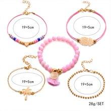 5 Pcs/Set Boho Women Pineapple Tassels Dreamcatcher Heart Coconut Tree Chain Bead Leather Bracelet Set Charm Fashion Accessories
