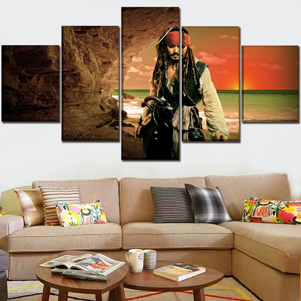 Canvas Print Modular Picture Home Decor Wall Art In Sea Landscape Draw 5 Pieces Movie Pirates Of The Caribbean Poster Framework in Painting Calligraphy from Home Garden