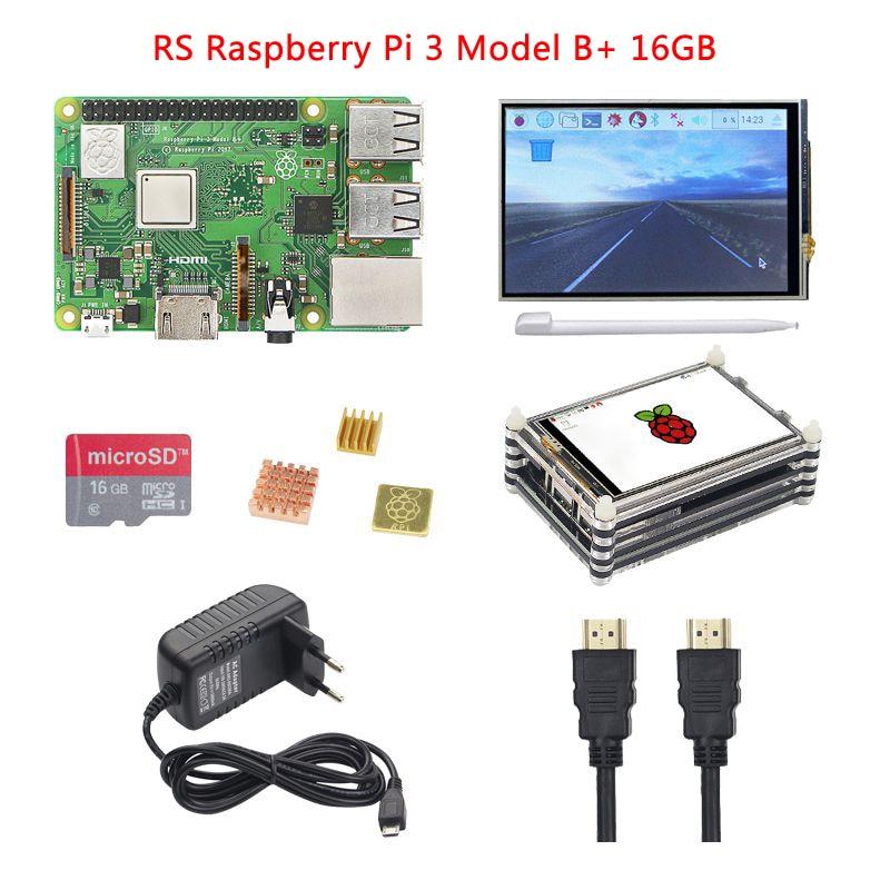 купить Raspberry Pi 3 Model B+ Plus+3.5 inch Touch Screen+9-layer Acrylic Case+5V 3A Power Adapter+16G 32G SD Card+Heat Sink+HDMI Cable по цене 4410.32 рублей