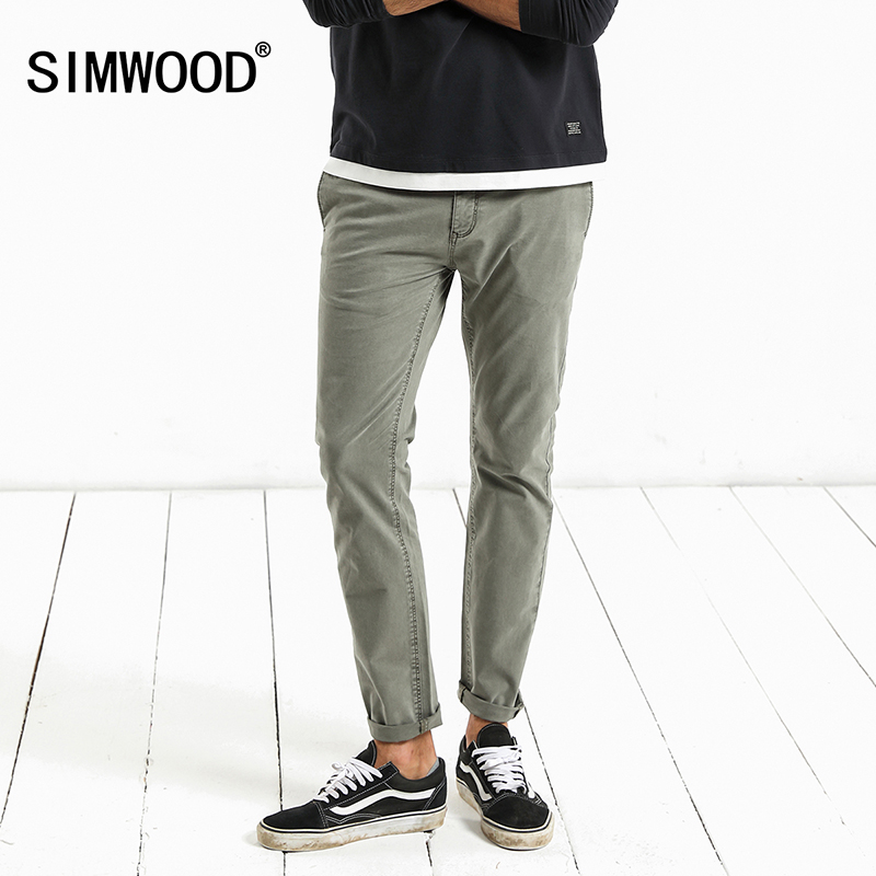 SIMWOOD 2018 Spring New Casual Pants Men Slim Fit Vintage High Quality Trousers Male Plus Size Brand Clothing 180059 2017jeans men new arrival brand clothing blue slim fit casual stretch denim pants high quality plus size free shipping