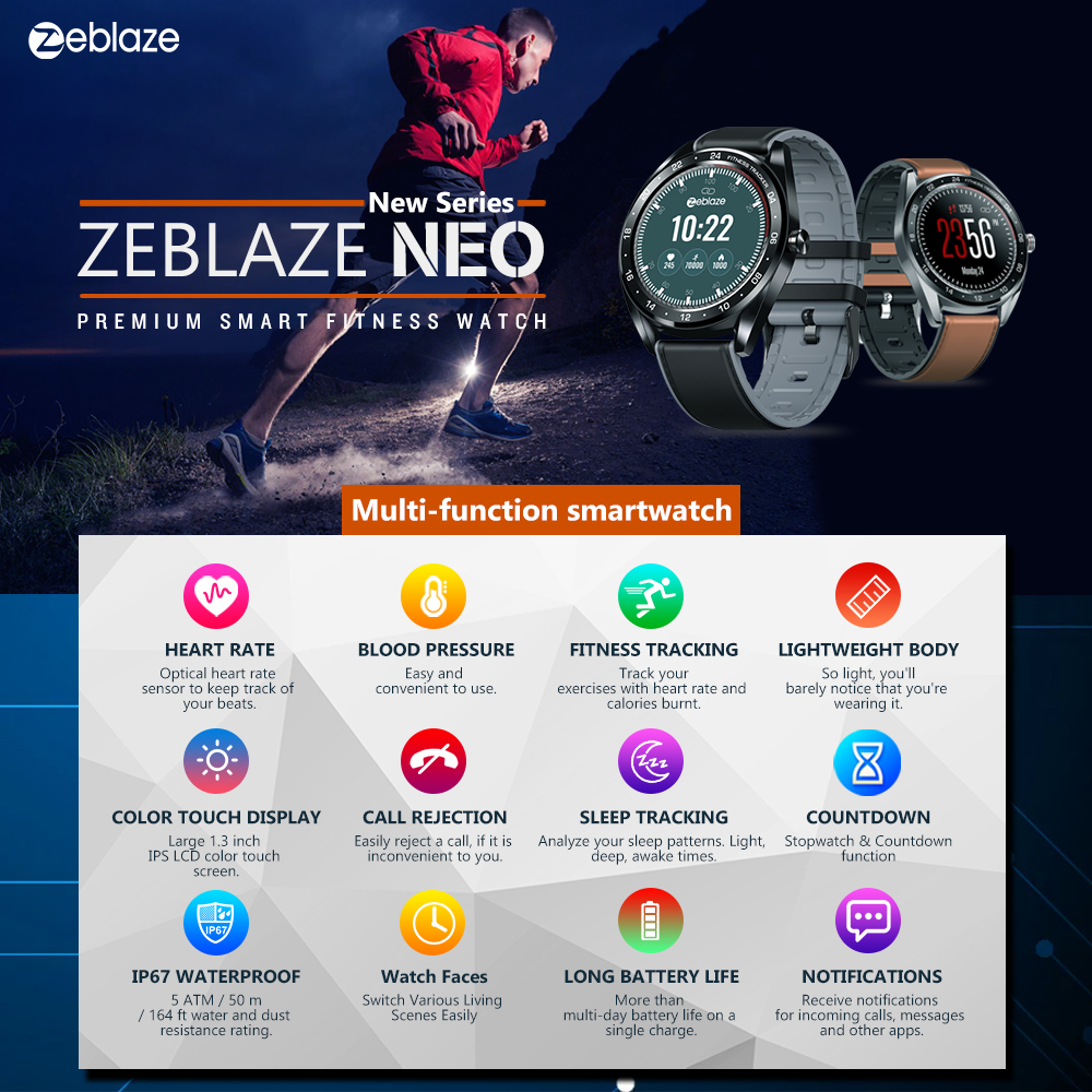 Image 2 - New Zeblaze NEO Series Color Touch Display Smartwatch Heart Rate Blood Pressure Female health CountDown Call rejection WR IP67-in Smart Watches from Consumer Electronics