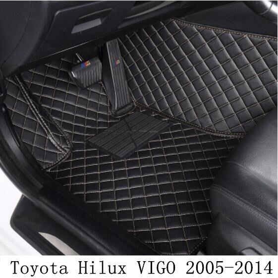 Accessoires de voiture style personnalisé tapis de pied 3D luxe en cuir voiture tapis de sol convient pour 05-14 Toyota Hilux VIGO 2005-2014