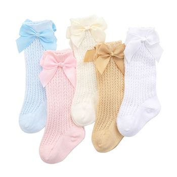 Cute Bowknot Baby Socks Cotton Bows Baby Girls Knee Socks Spring Summer Mesh Kids Infant Toddler Knee High Socks 0-2Y cartoon animal baby knee high socks for girls infant fox socks toddler baby girl knee socks lovely totoro cat knee sock s m l