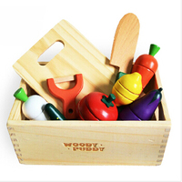 New wooden toy Kitchen toy Magnetic vegetables Fruit long Wooden box.