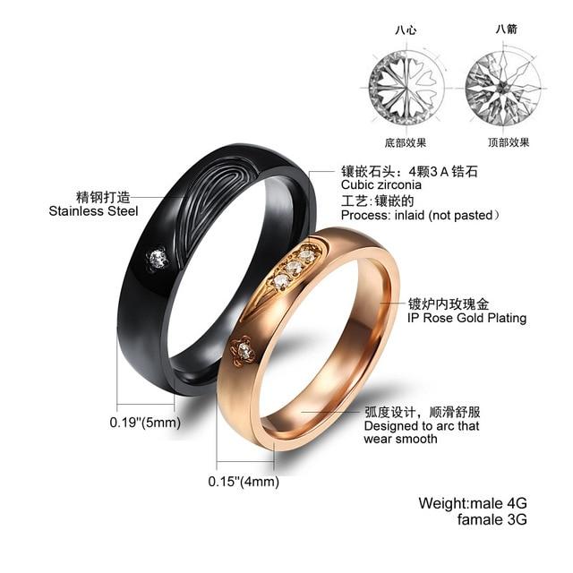Купить модные ювелирные изделия парное кольцо из титановой стали комбинированное