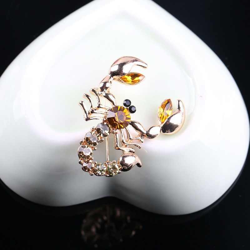 Indah Kualitas Tinggi Kristal Syal Bros Berlian Imitasi Perhiasan Bros Pin Pengantin Pernikahan Crystal Animal Scorpion Bros Pin