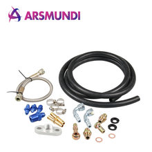 Complete Bolt On Turbo Charger Oil & Water Feed Drain Line Kit T25 T28 T25/T28 G28 GT25 GT28(China)