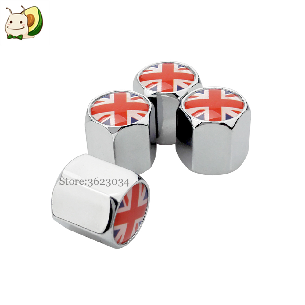 Tire Valve Caps Stem Cover UK Logo for Ford Fiesta Vauxhall Corsa VW Golf Nissan Qashqai Audi A3 Auto Styling