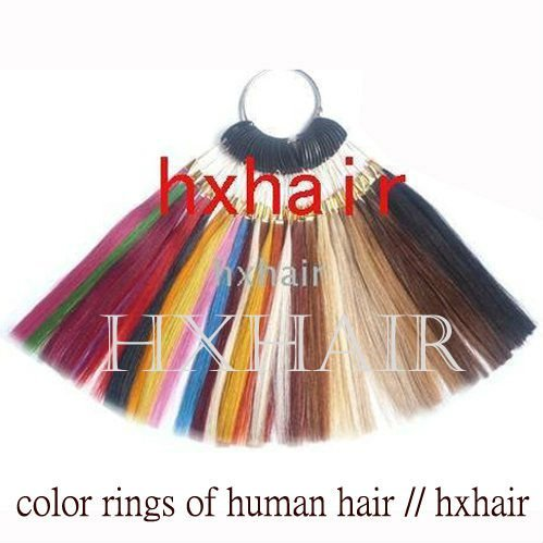 Freeshipping - 5pcs 36 Colors Color Rings / 36 Colors Color Chart / 100% Human Hair / Hair Extension tools