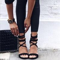 2018 Summer Sexy Women 10cm High Heels Sandals Plus Size Wedding Velvet Heels Strips Scarpins Stiletto Bride Green Shoes