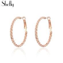 Круглые серьги кольца из розового золота классические простые