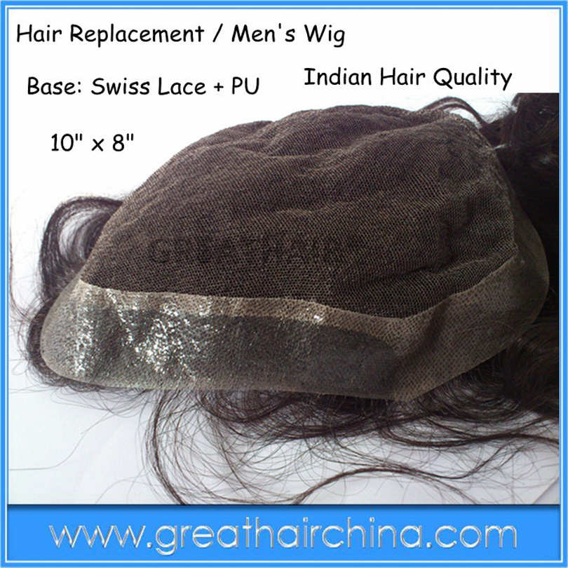 Buy tape - give away Tied Monofilament Base lace tape 100% super Men's Toupee Remy Natural Wave Men's Replacement super nautual hairline toupee for men with thin skin base men s hair replacement system