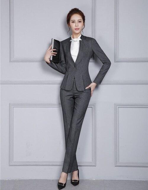 Gaya baru Formal Wanita Abu-abu Blazer Wanita Bisnis Setelan dengan Celana  dan Jaket Set b28ff1a1f7