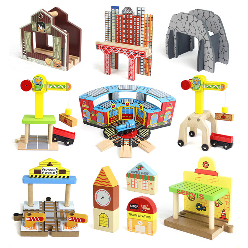 Wooden track train toy combination toy scene Children's variety combination Thomas track assembly accessories educational toy