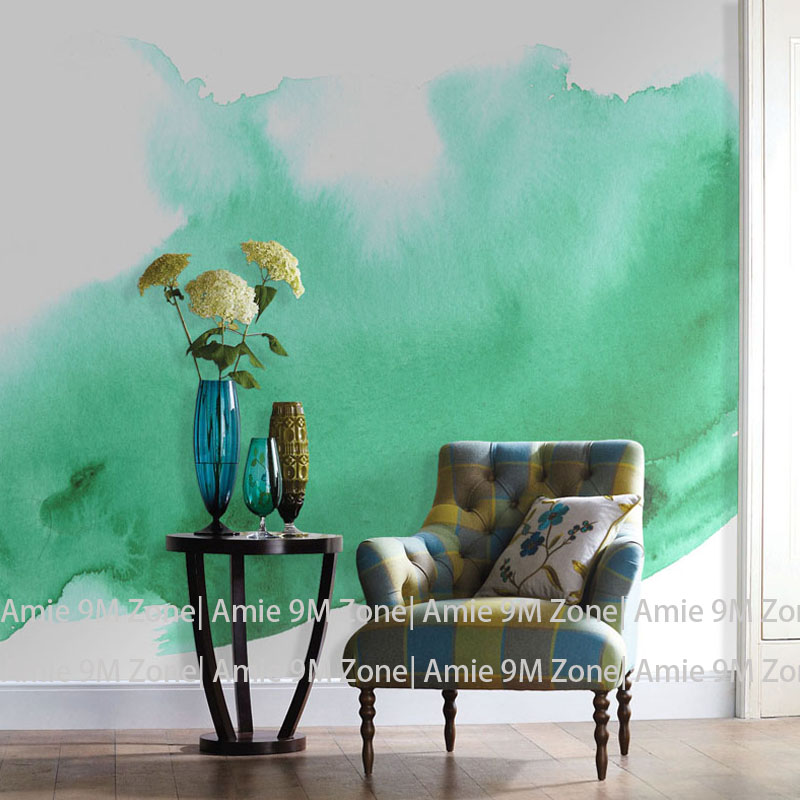Tuya Art Green watercolor mural wall paper for living room wall decor wholesale free shipping discount wallpapers pure green mountain art wallpaper mural on the wall for kid s room wallpaper nursery room wall decor free shipping