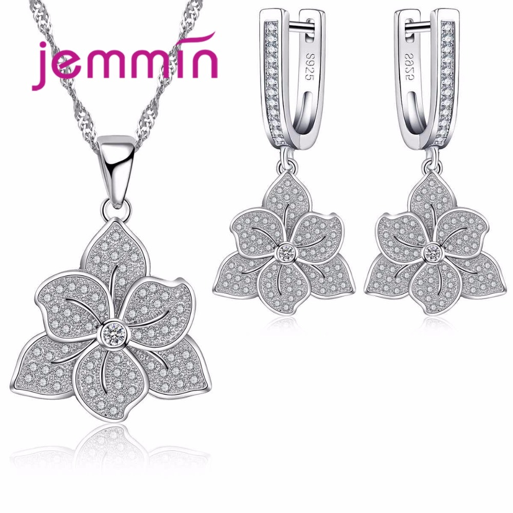 Vintage 925 Sterling Silver Flower Jewelry Sets For Engagement Gift Woman Pendants Necklaces Earrings Bridal Wedding Set