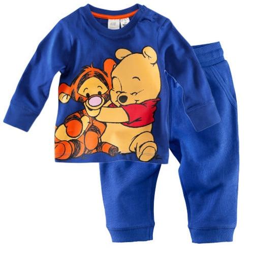 Fashion brand new children boy's cartoon weenie bear pyjamas, 100% cotton long sleeve nightwear 2T-7T free shipping