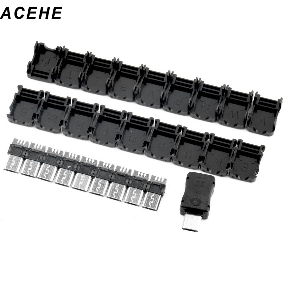 High Quality Micro USB Connector 10pcs 5 Pin T Port Male Micro USB Plug Socket Connector + Plastic Cover for DIY drop shipping micro usb charging port charger dock for lenovo yoga tablet b6000 plug connector flex cable board replacement