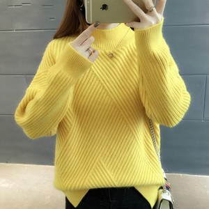Image 3 - PEONFLY New 2019 Loose Thick Warm Winter Pullover Sweater Women Jumper Half Turtleneck Long Sleeve Knit Yellow Sweater Female