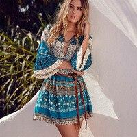 Elegant Floral Print Short Dress Women Boho V Neck Sexy Dress Summer Vintage Loose Lace Up