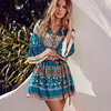 Elegant Floral Print Short Dress Women Boho V Neck Sexy Dress Summer Vintage Loose Lace Up